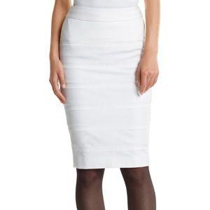 WHBM White Banded Ponte Pencil skirt 10
